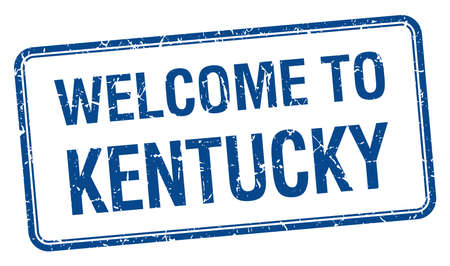 kentucky: welcome to Kentucky blue grunge square stamp Illustration