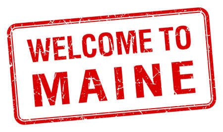 maine: welcome to Maine red grunge square stamp Illustration
