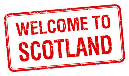 red grunge: welcome to Scotland red grunge square stamp