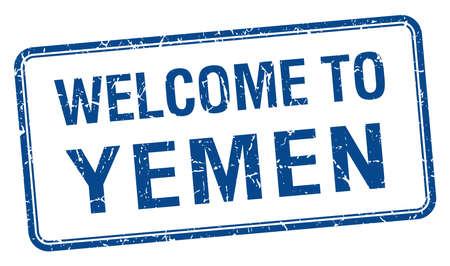 yemen: welcome to Yemen blue grunge square stamp Illustration
