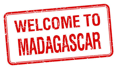 red grunge: welcome to Madagascar red grunge square stamp