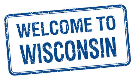 wisconsin: welcome to Wisconsin blue grunge square stamp