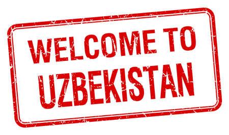 uzbekistan: welcome to Uzbekistan red grunge square stamp Illustration