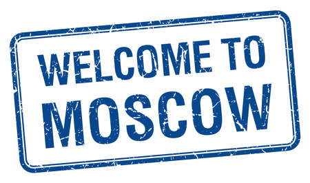 moscow: welcome to Moscow blue grunge square stamp