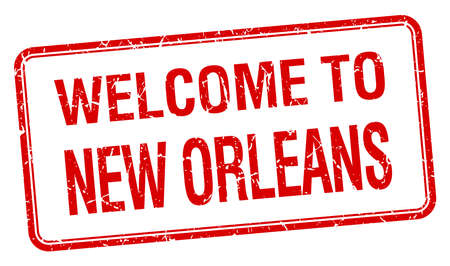 new orleans: welcome to New Orleans red grunge square stamp