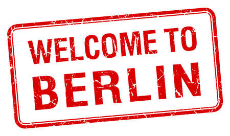red grunge: welcome to Berlin red grunge square stamp
