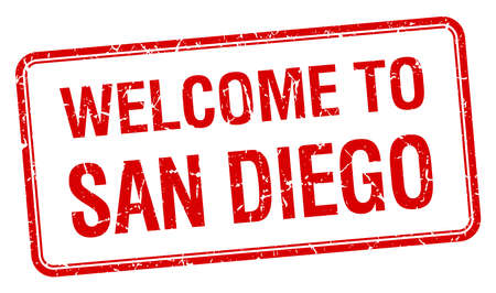 san diego: welcome to San Diego red grunge square stamp