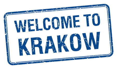 krakow: welcome to Krakow blue grunge square stamp