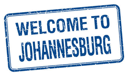 welcome to Johannesburg blue grunge square stamp