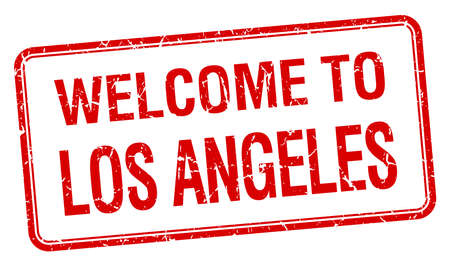 angeles: welcome to Los Angeles red grunge square stamp Illustration