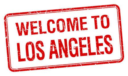 los angeles: Willkommen in Los Angeles red Grunge square stamp