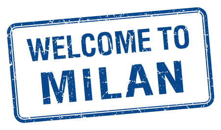 milan: welcome to Milan blue grunge square stamp