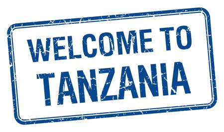 tanzania: welcome to Tanzania blue grunge square stamp