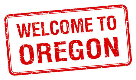 oregon: welcome to Oregon red grunge square stamp Illustration
