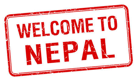 nepal: welcome to Nepal red grunge square stamp