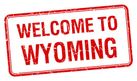 wyoming: welcome to Wyoming red grunge square stamp