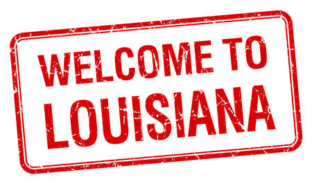 welcome to Louisiana red grunge square stamp Vector