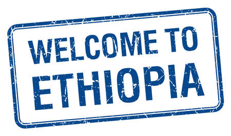 ethiopia: welcome to Ethiopia blue grunge square stamp