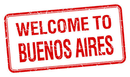 aires: welcome to Buenos Aires red grunge square stamp
