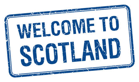 scotland: welcome to Scotland blue grunge square stamp