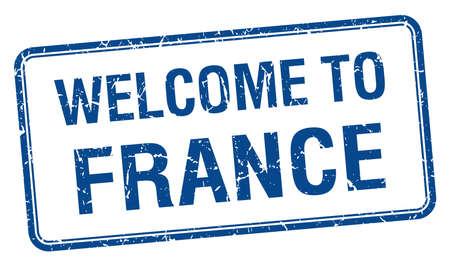 france stamp: welcome to France blue grunge square stamp Illustration
