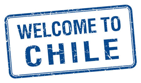 chile: welcome to Chile blue grunge square stamp Illustration
