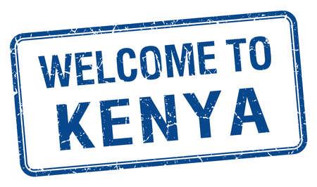 kenya: welcome to Kenya blue grunge square stamp Illustration