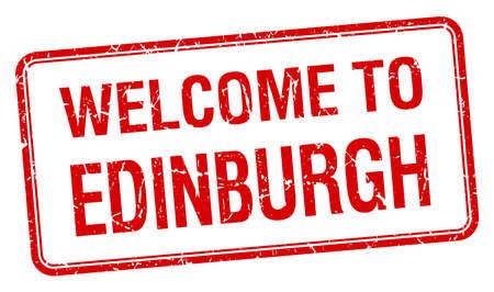 edinburgh: welkom om Edinburgh rode grunge vierkante stempel Stock Illustratie