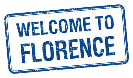florence: welcome to Florence blue grunge square stamp