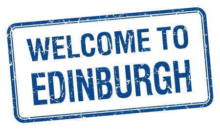 edinburgh: welkom om Edinburgh blauwe grunge vierkante postzegel