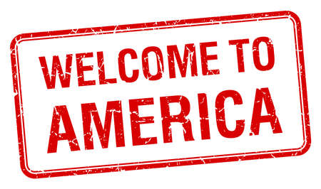 red grunge: welcome to America red grunge square stamp