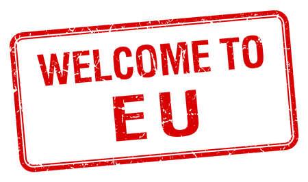 eu: welcome to eu red grunge square stamp