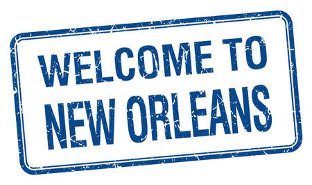 new orleans: welcome to New Orleans blue grunge square stamp Illustration