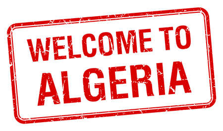 red grunge: welcome to Algeria red grunge square stamp Illustration