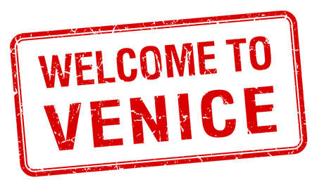 red grunge: welcome to Venice red grunge square stamp