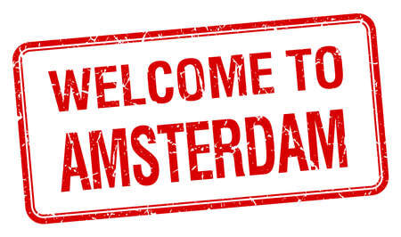 amsterdam: welcome to Amsterdam red grunge square stamp Illustration