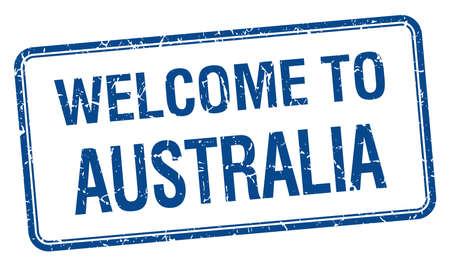 australia stamp: welcome to Australia blue grunge square stamp