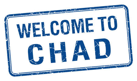 chad: welcome to Chad blue grunge square stamp