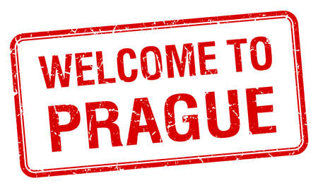 welcome to Prague red grunge square stamp Vector