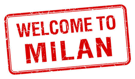milan: welcome to Milan red grunge square stamp