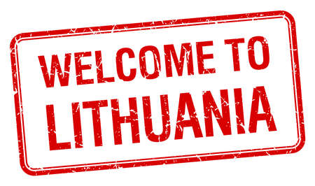 lithuania: welcome to Lithuania red grunge square stamp