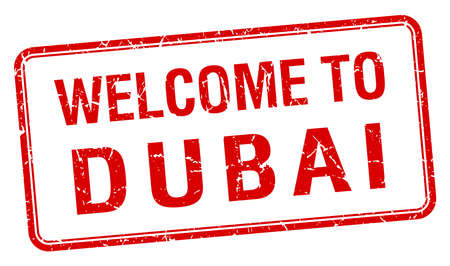 red grunge: welcome to Dubai red grunge square stamp Illustration