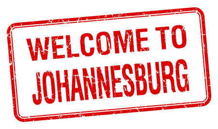 welcome to Johannesburg red grunge square stamp
