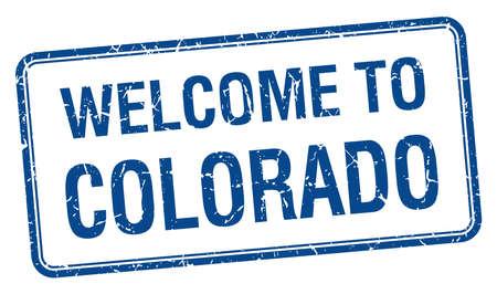 colorado: welcome to Colorado blue grunge square stamp