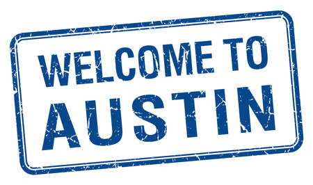 austin: welcome to Austin blue grunge square stamp Illustration