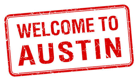 austin: welcome to Austin red grunge square stamp Illustration
