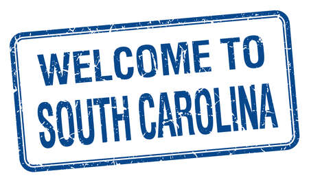 south carolina: welcome to South Carolina blue grunge square stamp Illustration