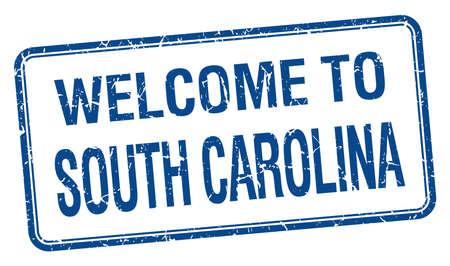 south carolina: welcome to South Carolina blue grunge square stamp Illustration