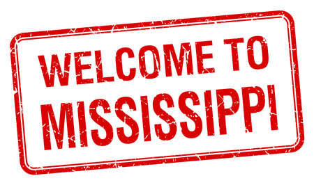 red grunge: welcome to Mississippi red grunge square stamp