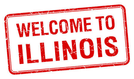 red grunge: welcome to Illinois red grunge square stamp